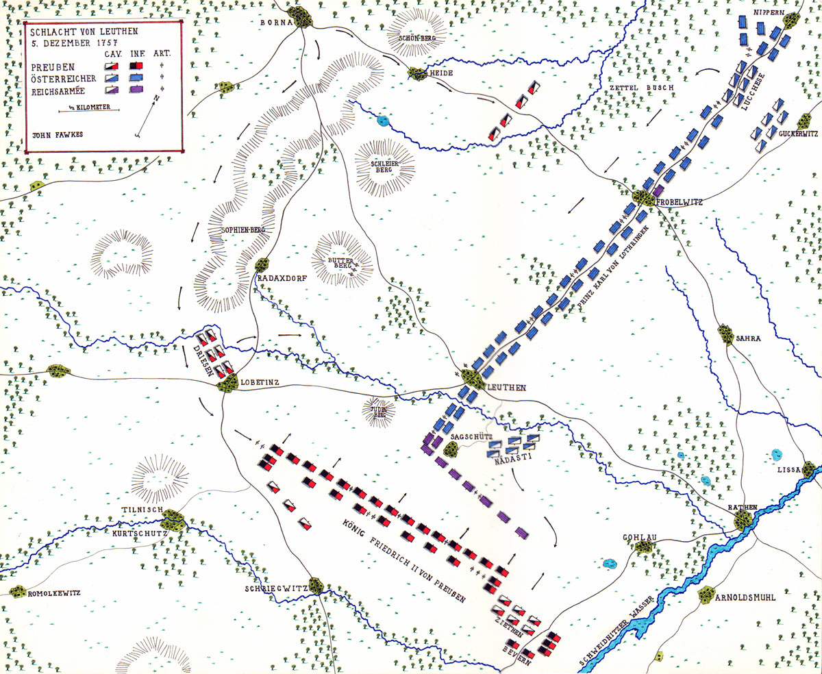 Map of the Battle of Leuthen by John Fawkes