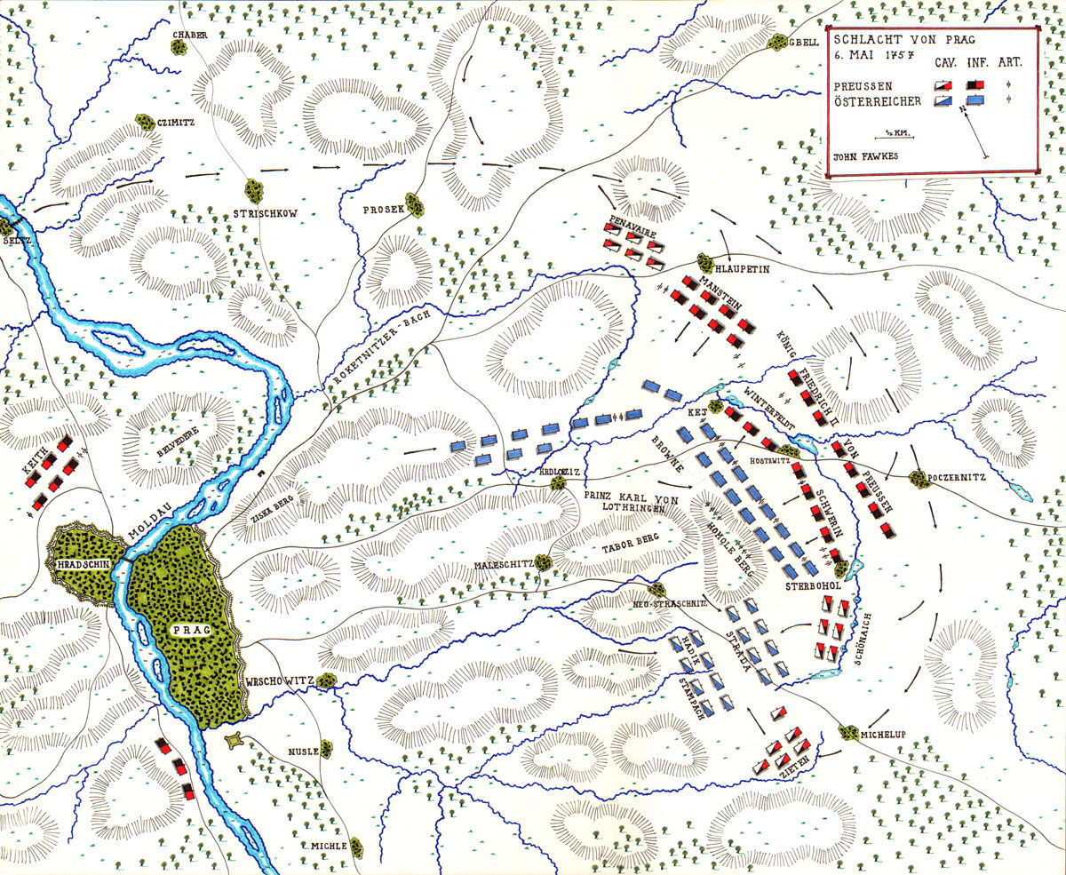 Map of the Battle of Prague by John Fawkes