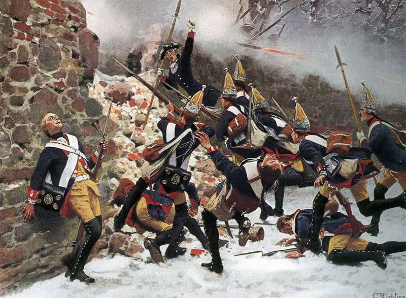 Prussian Grenadiers under Captain Möllendorf storm into the village of Leuthen during the Battle of Leuthen