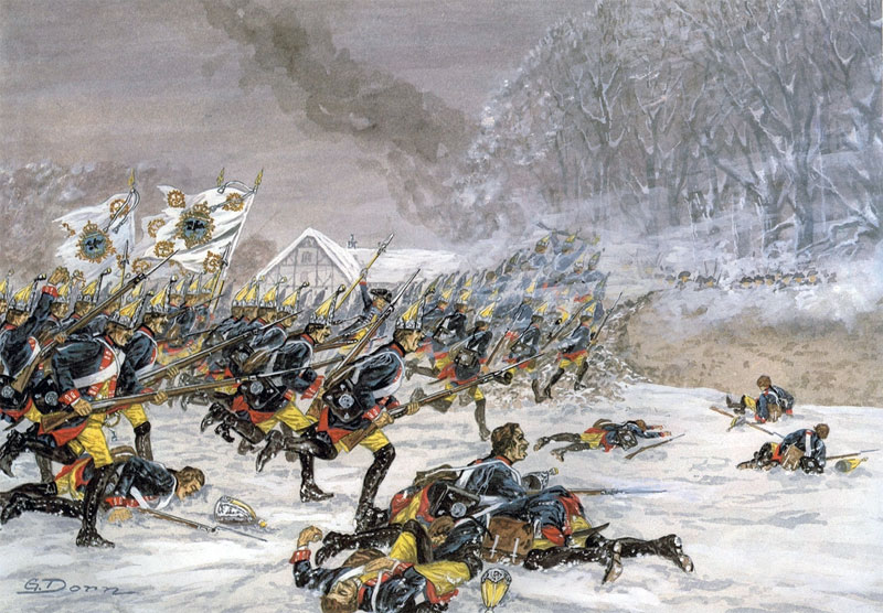 The Prussian Infantry Regiment number 3 attacking at the Battle of Leuthen