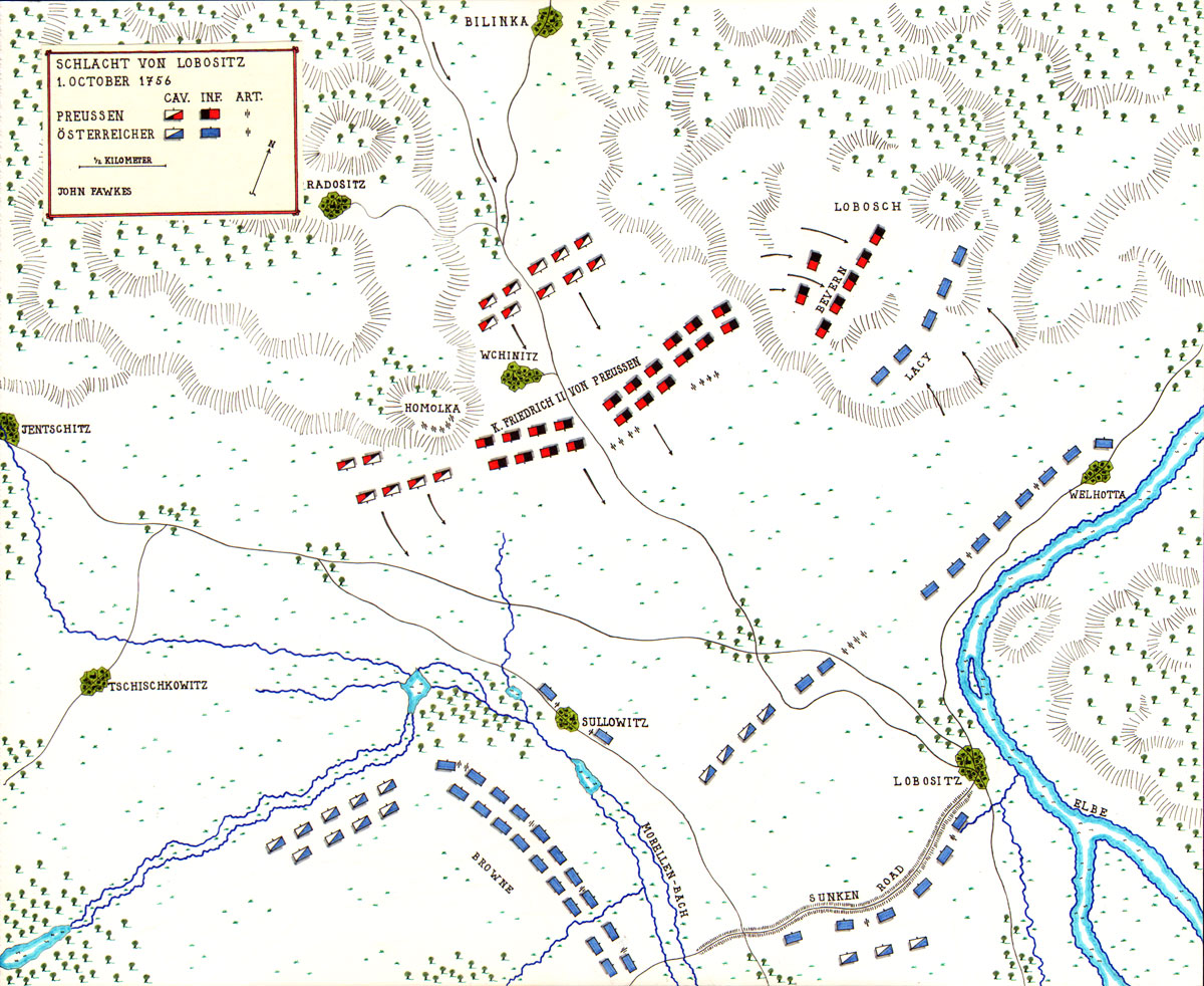 Map of the Battle of Lobositz by John Fawkes
