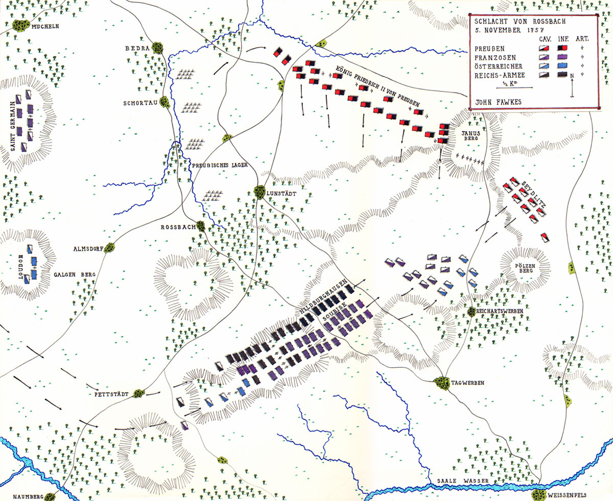 Map of the Battle of Rossbach by John Fawkes