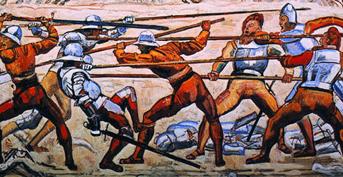 Swiss pikemen in battle in the 16th Century showing the way the long pike was used in an attack as at the Battle of Stratton on