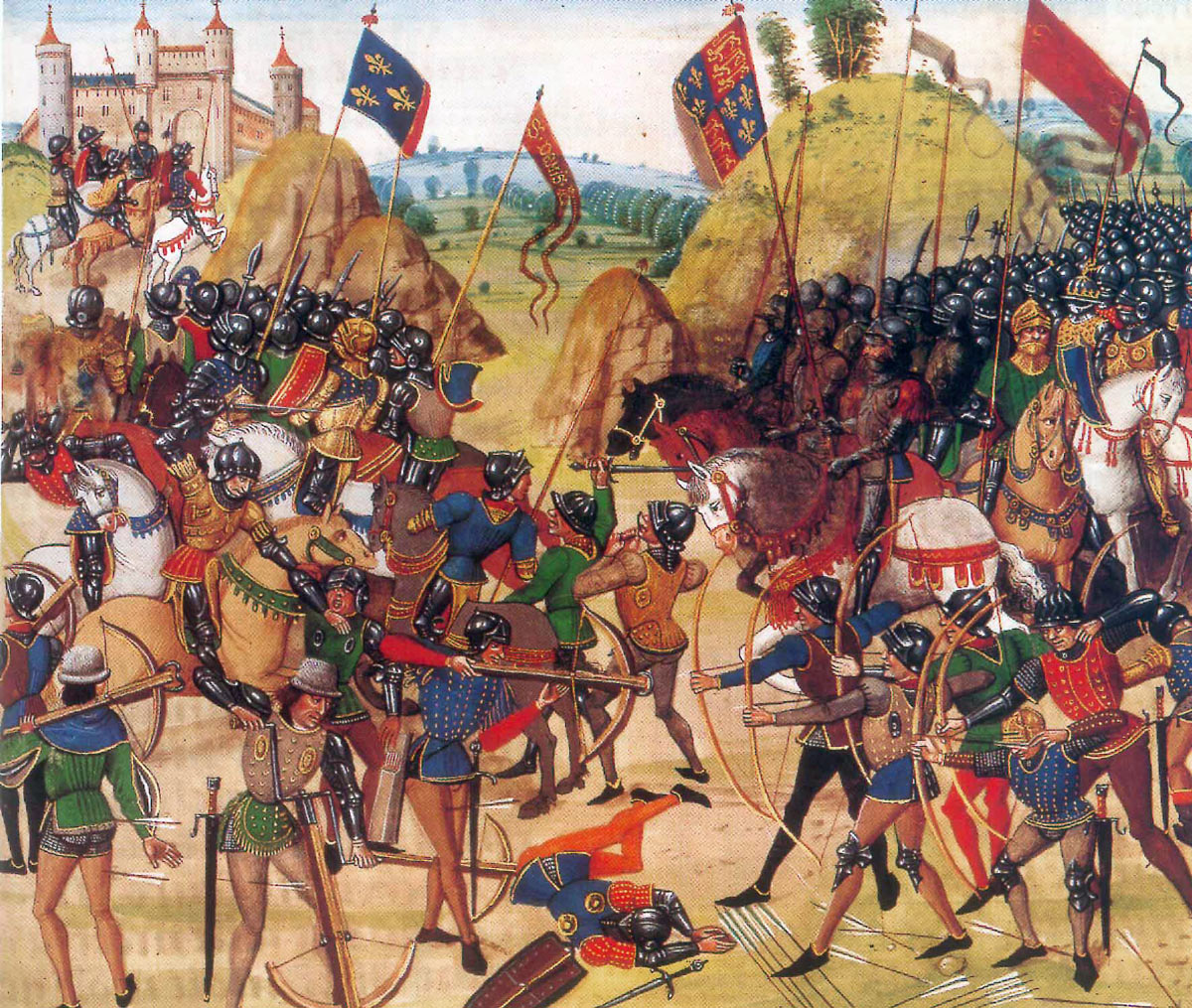 Battle of Creçy on 26th August 1346 in the Hundred Years War: Froissart's magnificent representation more imaginative than accurate: click here to buy this picture