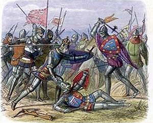 King Henry V defends his brother the Duke of Gloucester at the Battle of Agincourt on 25th October 1415 in the Hundred Years War