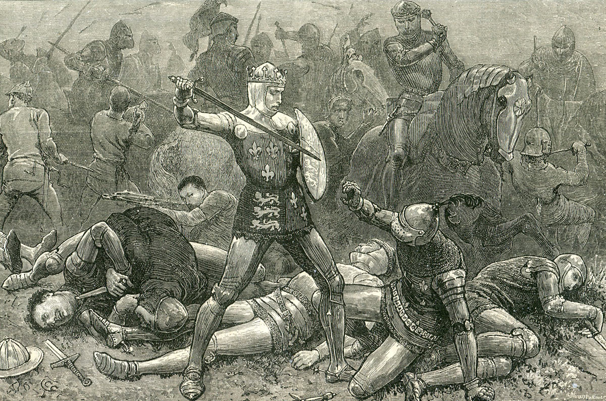 King Henry V and the Duke D'Alençon at the Battle of Agincourt on 25th October 1415 in the Hundred Years War