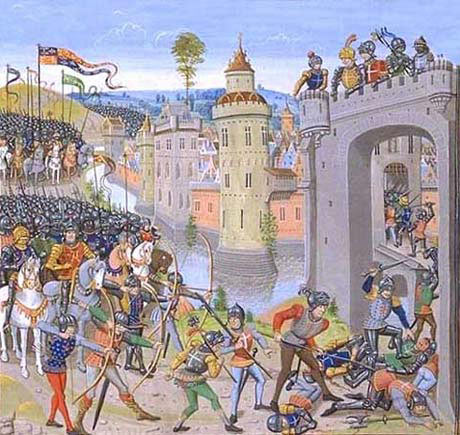 The attack by Henry V's army on Harfleur before the Battle of Agincourt on 25th October 1415 in the Hundred Years War