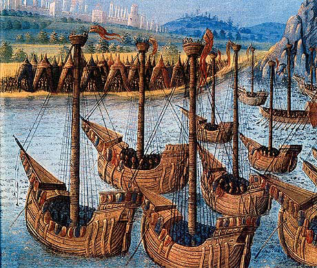 A French Fleet of the mid-14th Century: Battle of Sluys on 24th June 1340 in the Hundred Years War