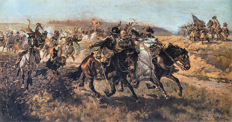 Cavalry in action at the time of the English Civil War