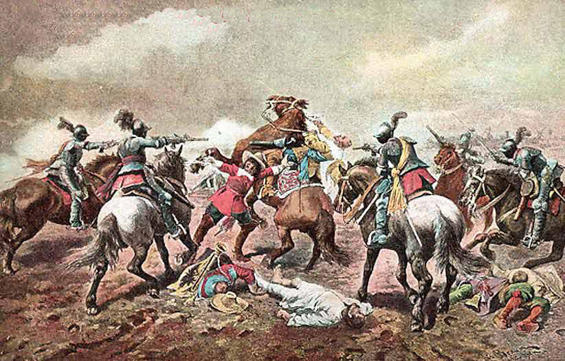 Cuirassiers in action at the time of the English Civil War