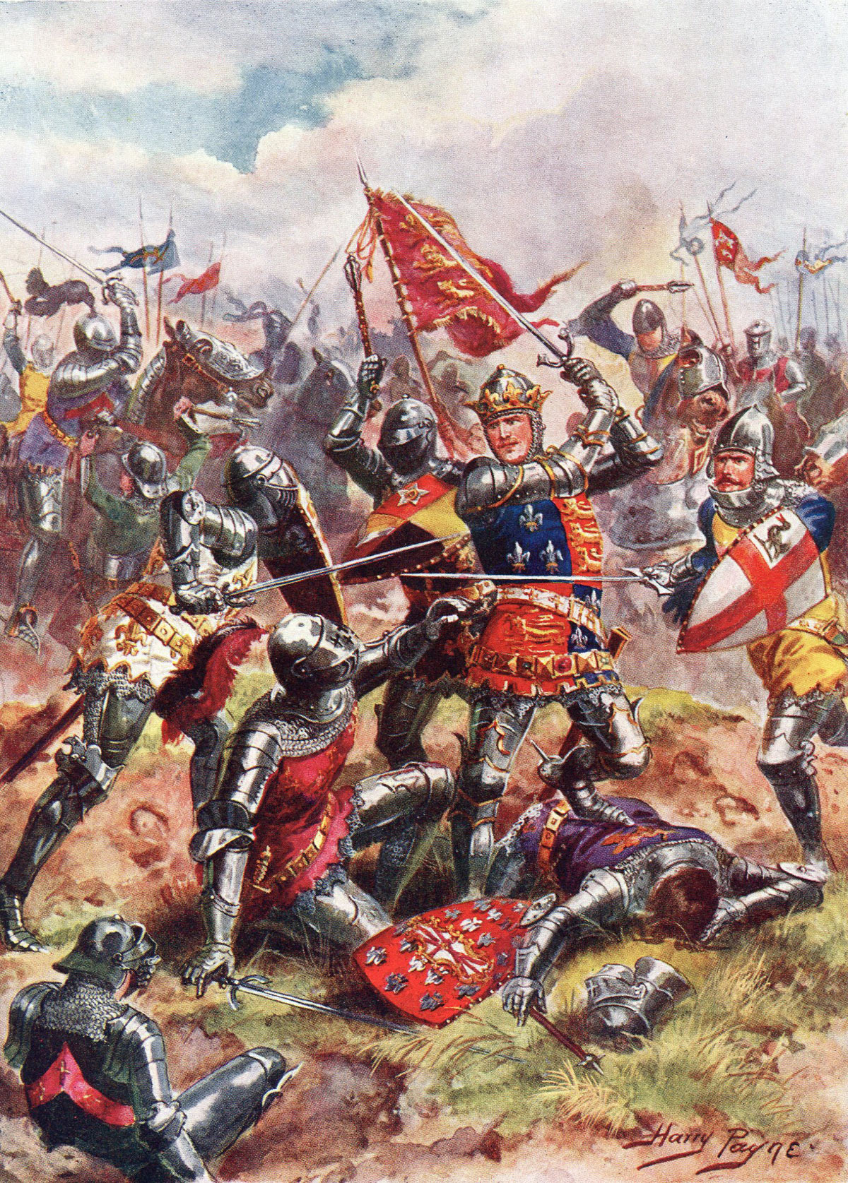 King Henry V at the Battle of Agincourt on 25th October 1415 in the Hundred Years War