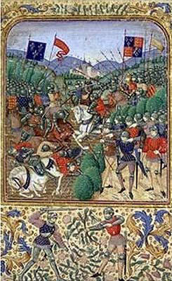 A medieval illustration of the Battle of Agincourt: the opposing Royal Standards are displayed: England on the right; France on the left. The English Royal Standards incorporates the Lilies of France to show the claim of the Kings of England to the French throne.