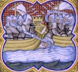The Battle of Sluys on 24th June 1340 in the Hundred Years War from a contemporary chronicle