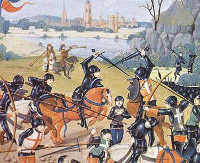 The French are overwhelmed at the Battle of Agincourt on 25th October 1415 in the Hundred Years War