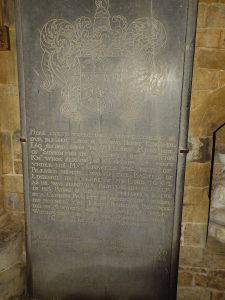 The memorial in Radway Church to the Royalist Captain Henry Kingsmill killed at the Battle of Edgehill on 23rd October 1642 in the English Civil War