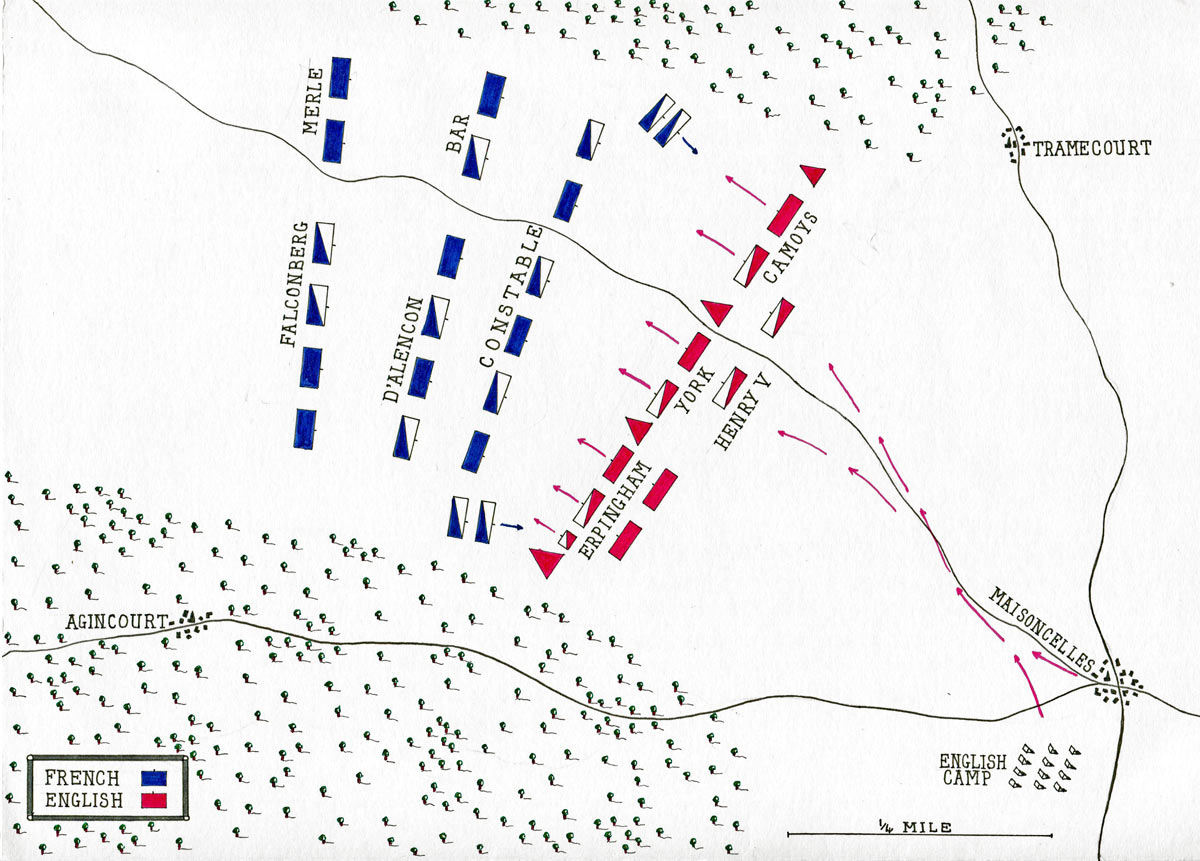 Battle of Agincourt on 25th October 1415 in the Hundred Years War: map by John Fawkes