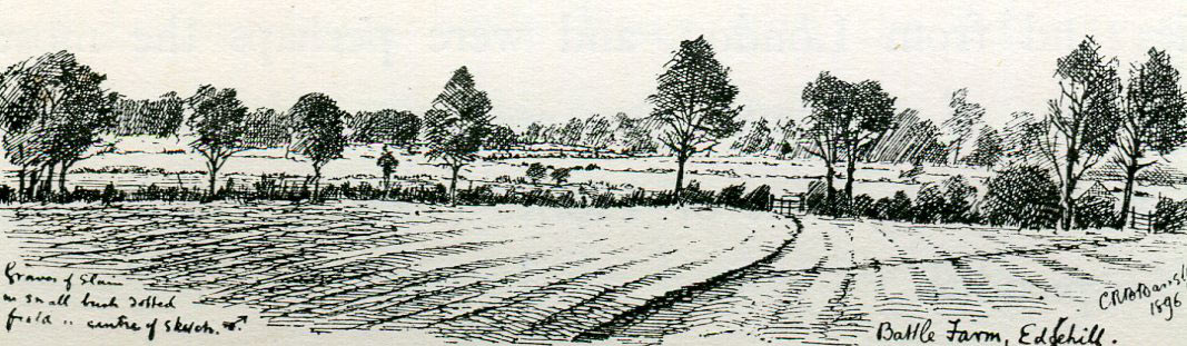 Battle Farm showing the spot where casualties were buried: Battle of Edgehill 23rd October 1642 during the English Civil War: drawing by C.R.B. Barrett