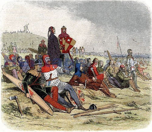 English knights awaiting the French attack at the Battle of Creçy on 26th August 1346 in the Hundred Years War: click here to buy this picture