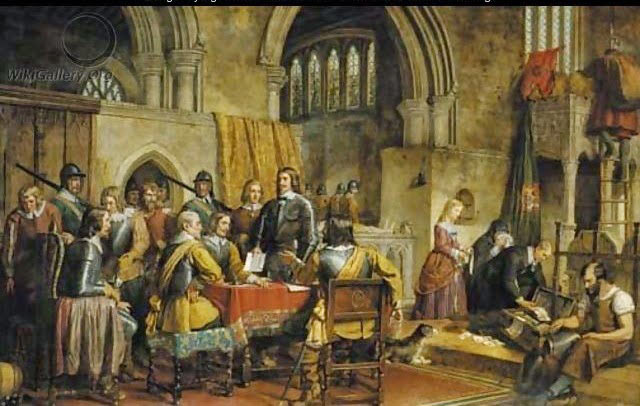 The surrender of Arundel Caslte to Sir William Waller on 6th January 1643 in the English Civil War: picture by Charles Landseer