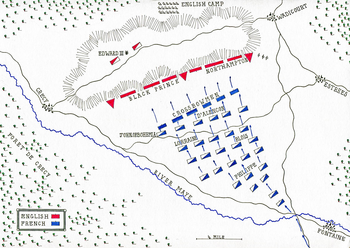 Battle of Creçy on 26th August 1346 in the Hundred Years War: map by John Fawkes