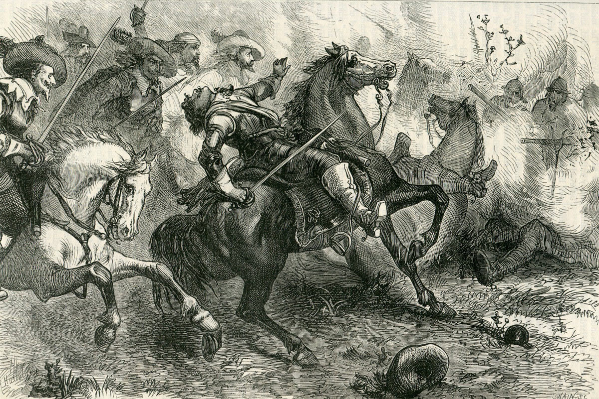 Death of Lucius Cary 2nd Viscount Falkland at the First Battle of Newbury 20th September 1643 in the English Civil War