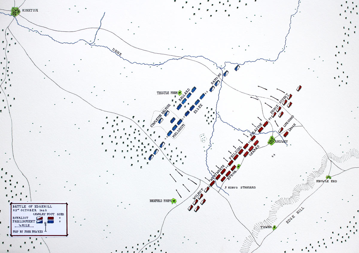 Battle of Edgehill on 23rd October 1642 in the English Civil War: map by John Fawkes