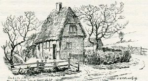 Bigg's Cottage where the Earl of Essex spent the night before the First Battle of Newbury on 20th September 1643 in the English Civil War: drawing by C.R.B. Barrett