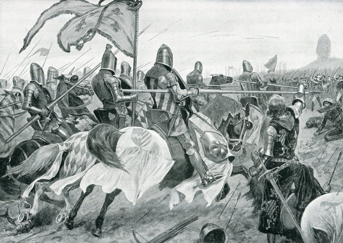 The French knights attack at the Battle of Creçy on 26th August 1346 in the Hundred Years War: picture by Richard Caton Woodville: click here to buy this picture