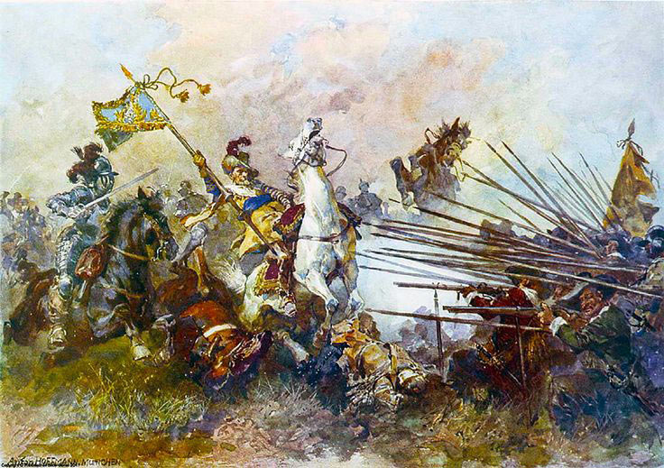 Horse attacking musketeers and pikemen in the Civil War period
