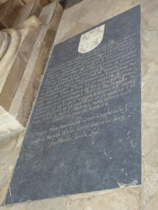 Memorial to Sir John Smith in the floor of the Lucy Chapel in Christchurch Cathedral, Oxford: Battle of Cheriton on 29th March 1644