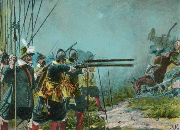 Musketeers fighting off a cavalry attack at the time of the English Civil War