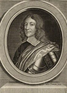 Colonel Nathaniel Fiennes Parliamentary Governor of Bristol at the Storming of the City on 26th July 1643. Fiennes was condemned to death for surrendering the City after a brave and resourceful defence: engraving by Michael Vandergucht: click here to buy this picture