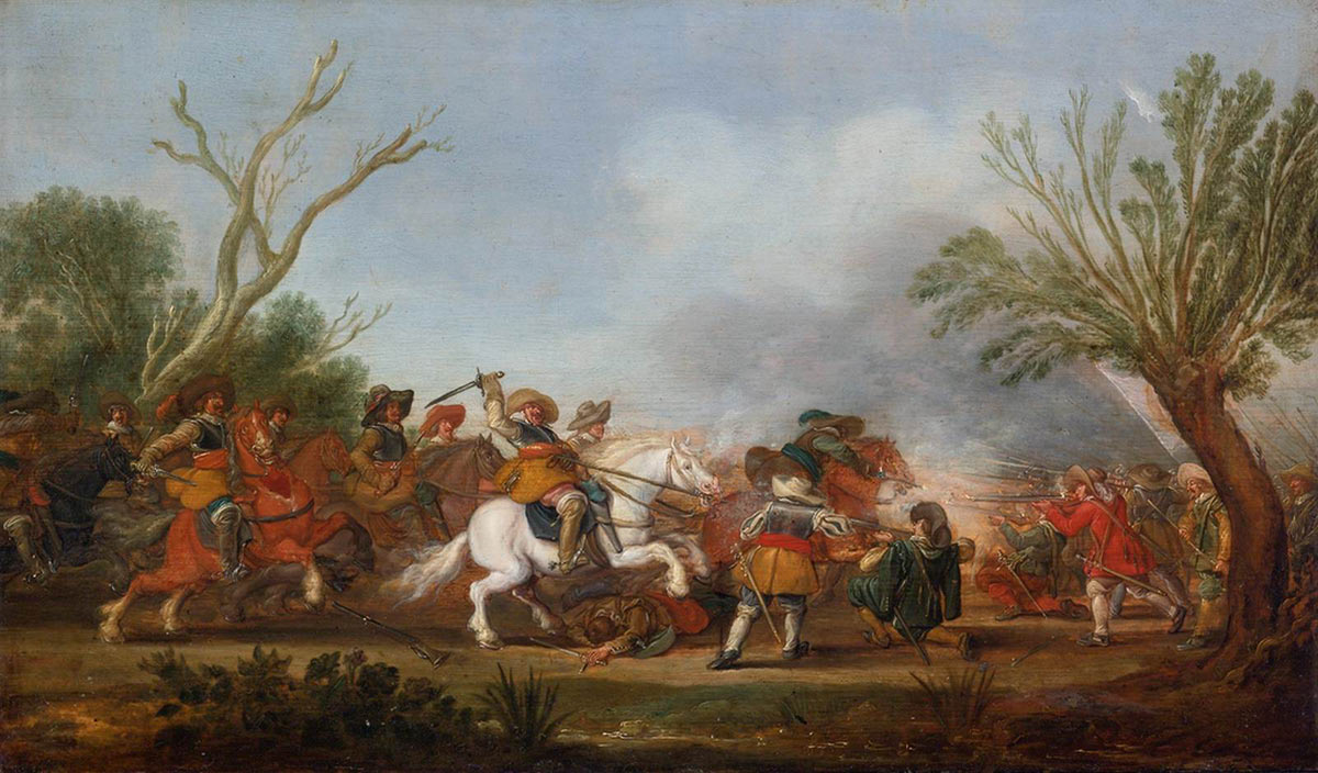Cavalry attacking Foot at the time of the English Civil War: Battle of Cheriton on 29th March 1644 in the English Civil War: picture by Palamedes Palamedesz