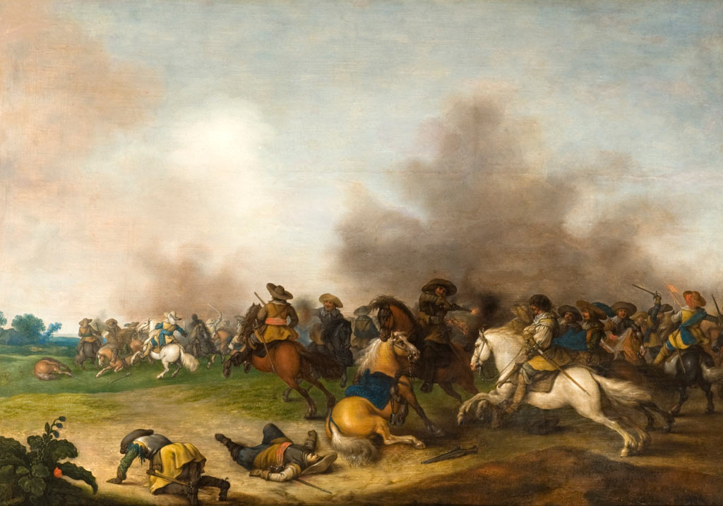 A cavalry action: Battle of Edgehill 23rd October 1642 in the English Civil War: picture by Palamedes Palamedesz