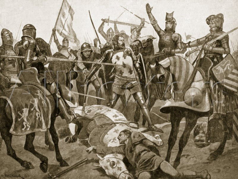 Capture of King John of France at the Battle of Poitiers on 19th September 1356 in the Hundred Years: picture by Richard Caton Woodville: click here to buy this picture