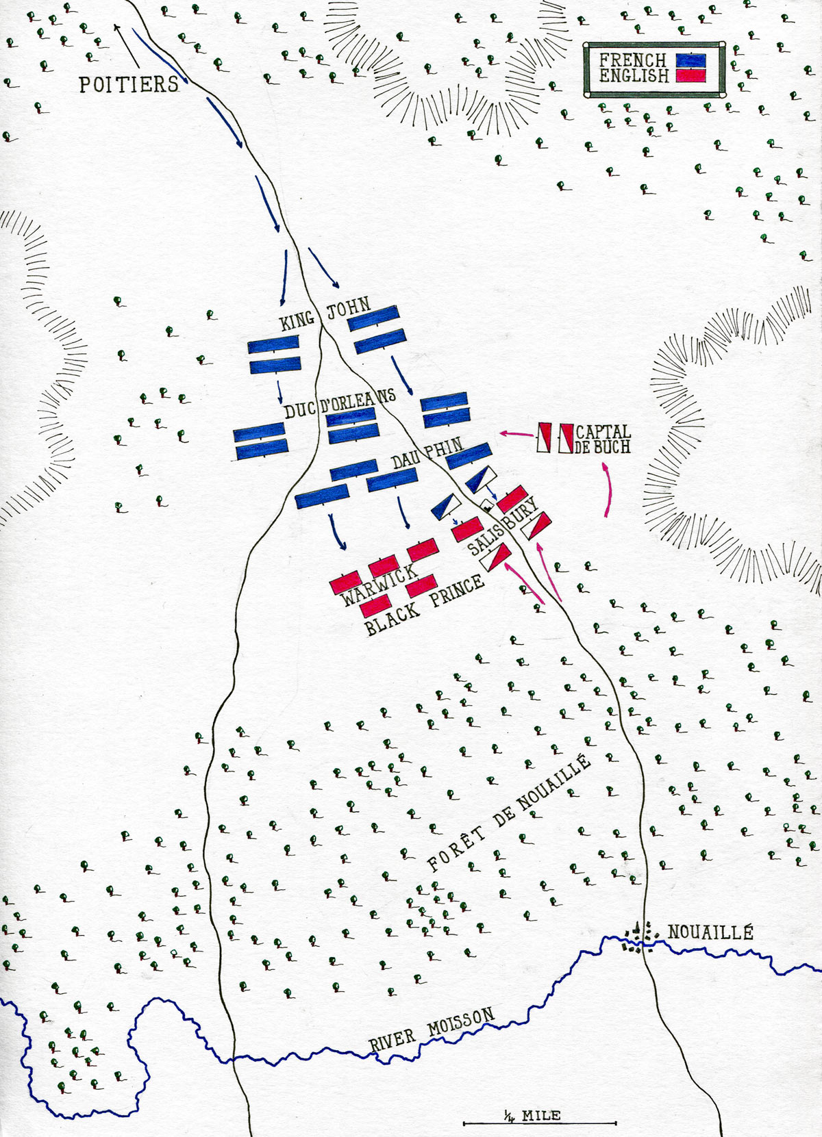 Battle of Poitiers on 19th September 1356 in the Hundred Years: map by John Fawkes
