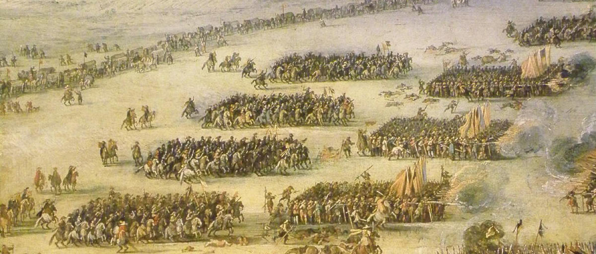 Cavalry and 'commanded musketeers' of the Period of the English Civil war: Battle of Edgehill on 23rd October 1642: picture by Peter Sneyers