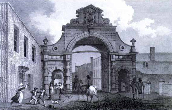 Temple Gate attacked by the Cornish Army of Prince Maurice during the Storming of Bristol on 26th July 1643 in the English Civil War