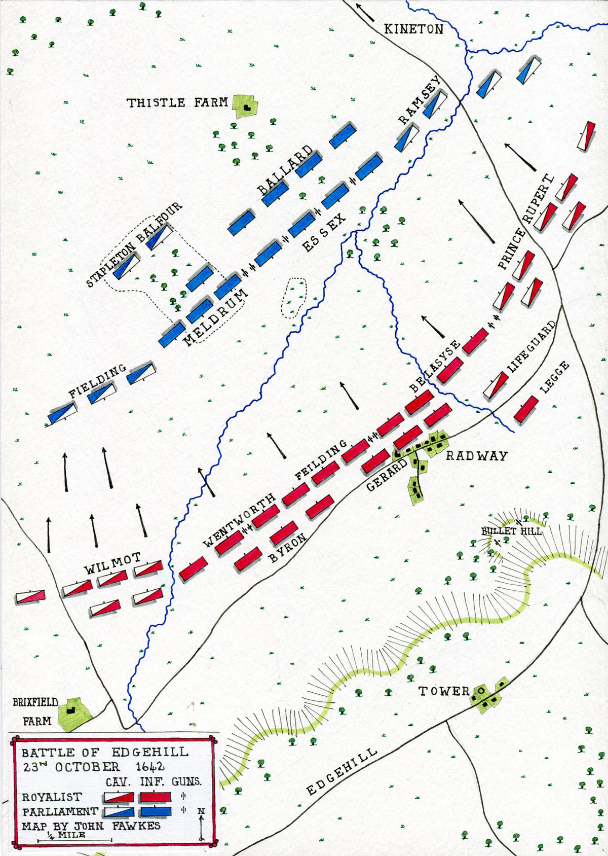Map of the Battle of Edgehill on 23rd October 1642 in the English Civil War: map by John Fawkes