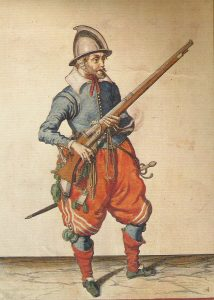 Musketeer of the English Civil War period armed with a Matchlock: Battle of Edgehill on 23rd October 1642 in the English Civil War
