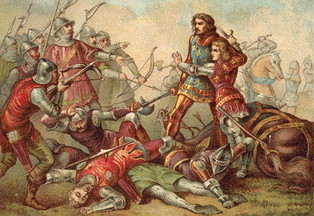 Capture of King John of France and his 14 year old son at the Battle of Poitiers on 19th September 1356 in the Hundred Years: click here to buy this picture