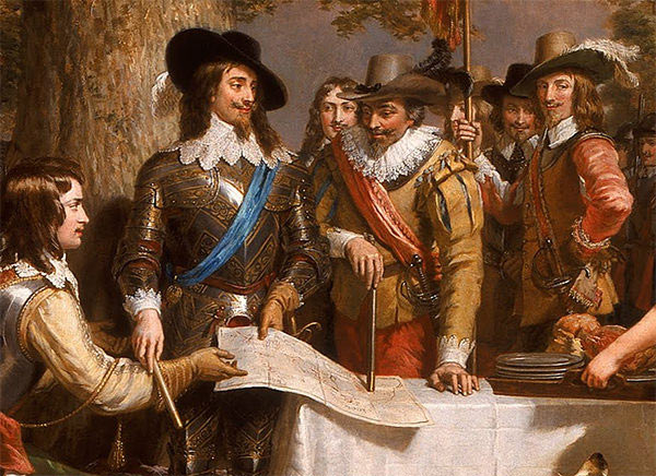 King Charles I with his advisers before the Battle of Edgehill on 23rd October 1642 in the English Civil War: picture by Edward Landseer