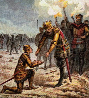 King Edward III greets the Black Prince after the Battle of Creçy on 26th August 1346 in the Hundred Years War: click here to buy this picture