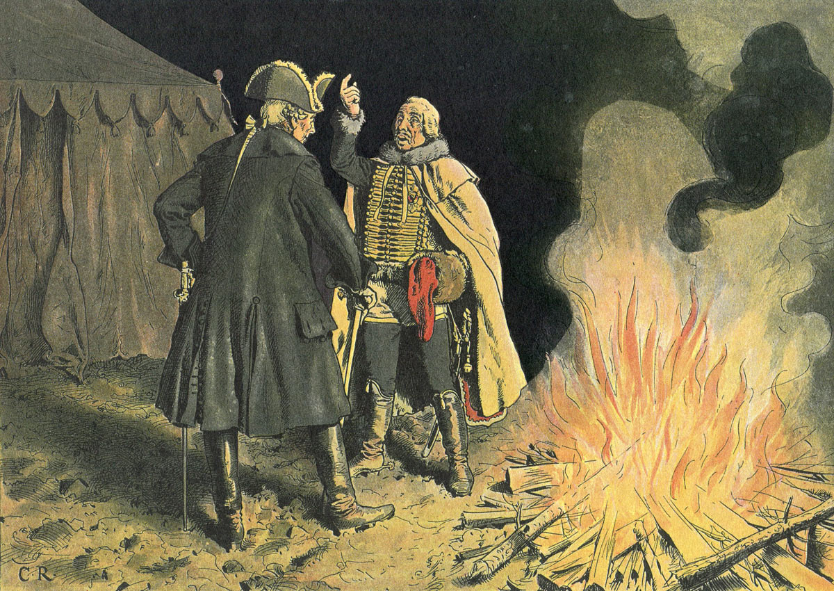 Frederick the Great talks to General Zieten in the Camp at Bunzelwitz before the Battle of Burkersdorf on 21st July 1762 in the Seven Years War: picture by Richard Knötel: click here to buy this picture