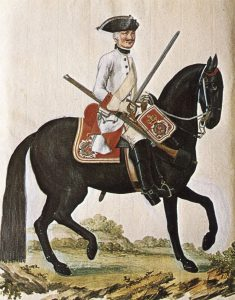 Hanoverian Regiment of Horse von Hardenburg: Battle of Minden 1st August 1759 in the Seven Years War: picture by Karsten