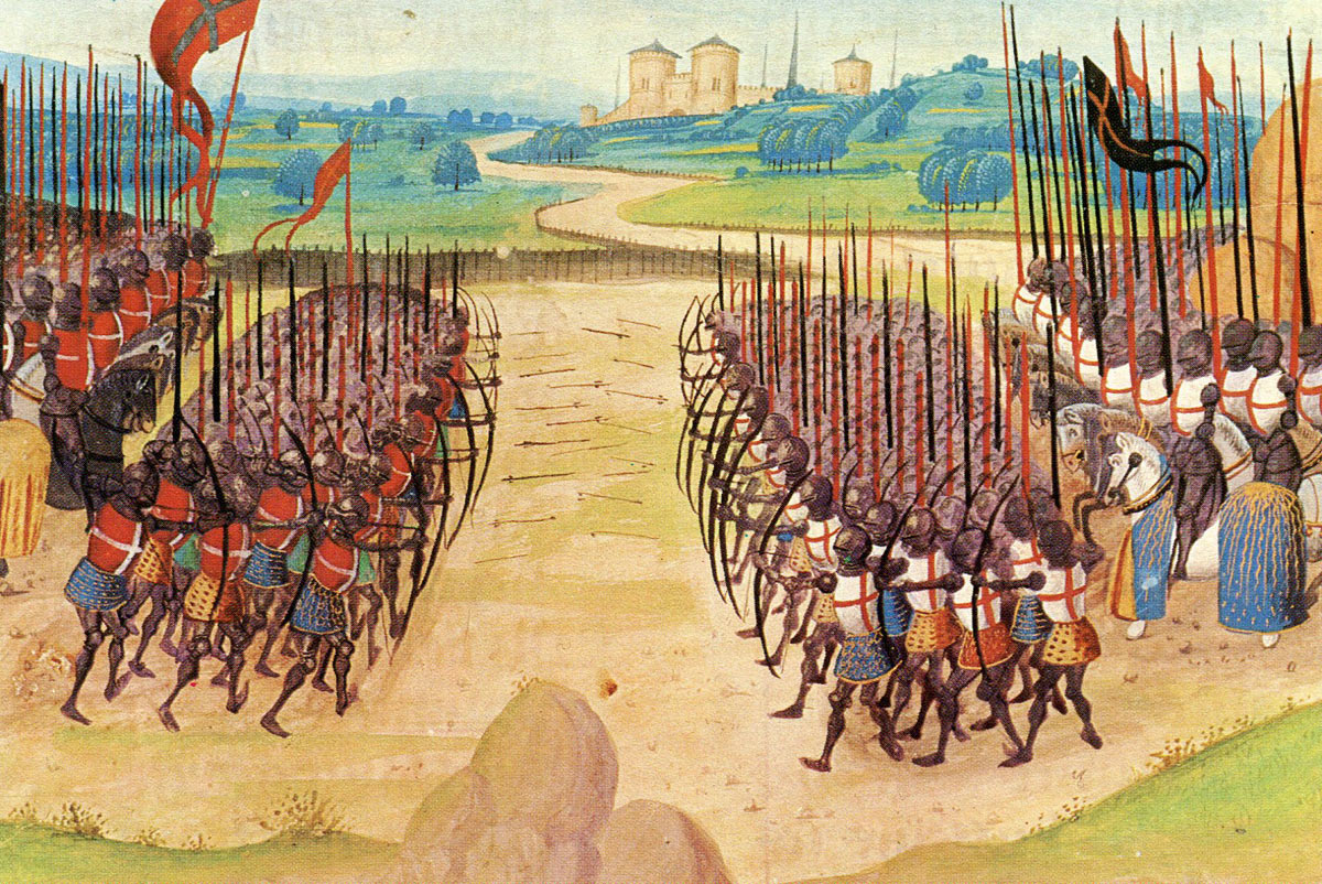 The armies clash at the Battle of Agincourt on 25th October 1415 in the Hundred Years War