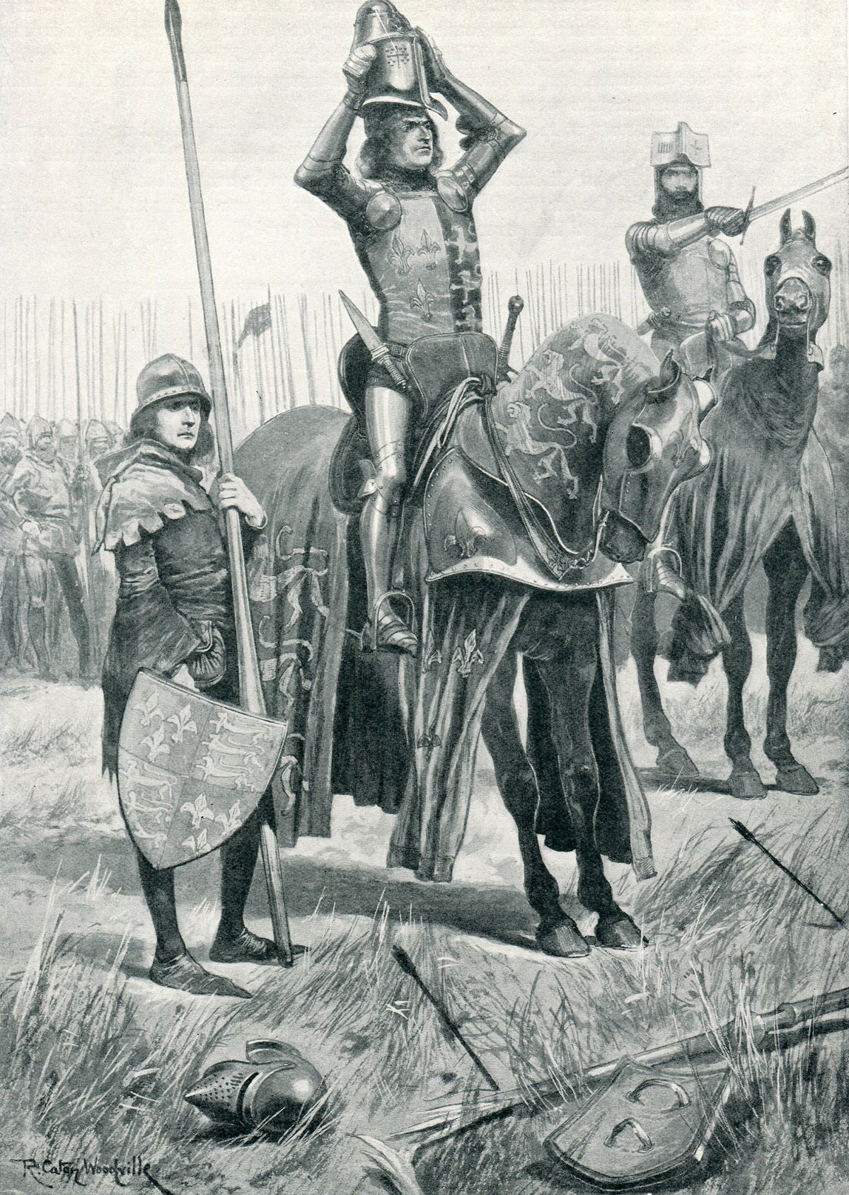 Sir John Chandos urges the Black Prince to attack saying 'Sire the Day is yours' at the Battle of Poitiers on 19th September 1356 in the Hundred Years