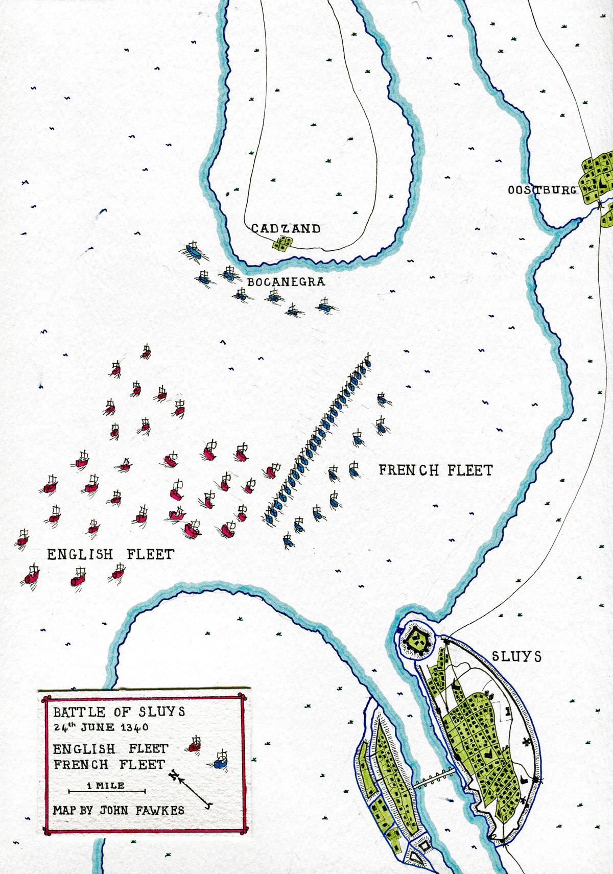 Battle of Sluys 24th June 1340: map by John Fawkes