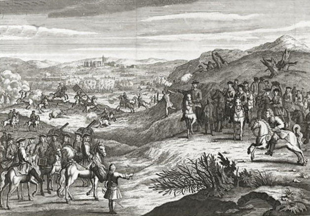Illustration of the Battle of Edgehill on 23rd October 1642 in the English Civil War: drawn in the Restoration period with uniforms of that time