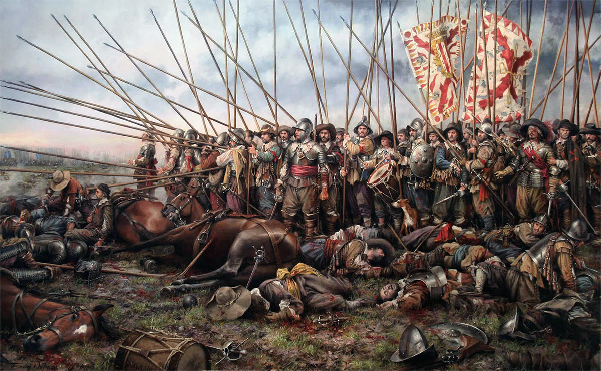 Pikemen at the Battle of Rocroi in France, in 1643